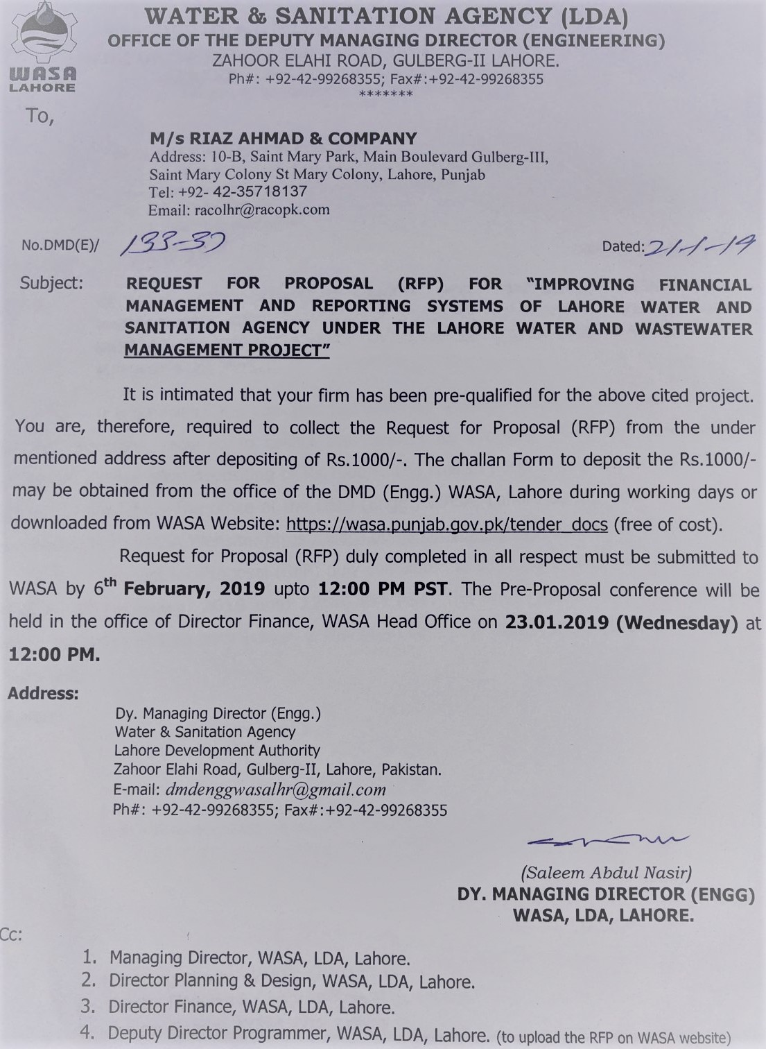 Tender Documents | WASA, Lahore